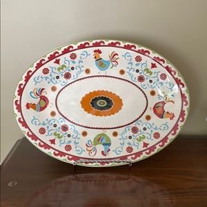 17 inches oval serving platter Suzani Rooster 🐓